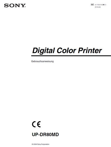 Manual for SONY Digital Color Printer UP-DR80MD